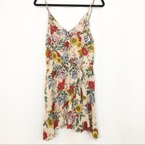 Tan floral mini dress